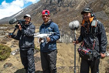 XXPorters in training as sound, camera and drone operators
