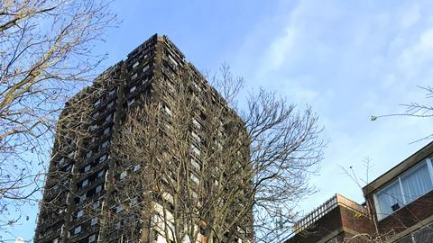 Ruin of Grenfell Tower seen from the Lancaster West estate