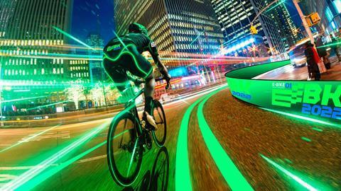 E-Bike Grand Prix mock up of cyclist